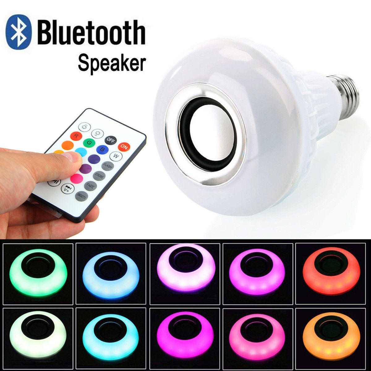 12w e27 led rgb sans fil haut parleur bluetooth ampoule lampe de musique loign ebay. Black Bedroom Furniture Sets. Home Design Ideas