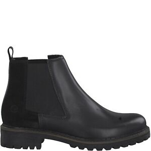Details zu Tamaris 1 1 25457 23 098 Schuhe Damen Leder Stiefeletten Chelsea Boots schwarz