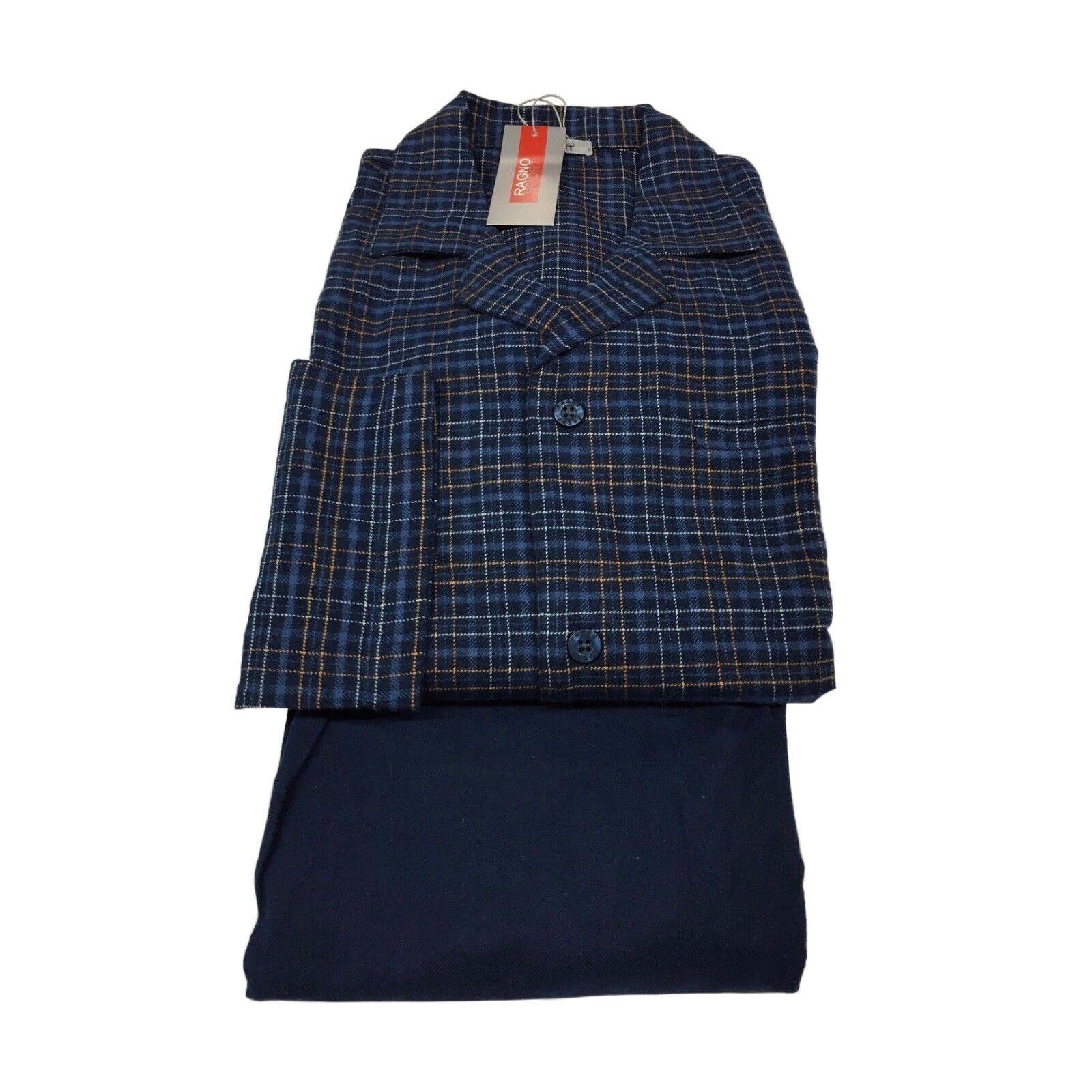 RAGNO SPORT pigiama flanella blue a quadri 100% cotone