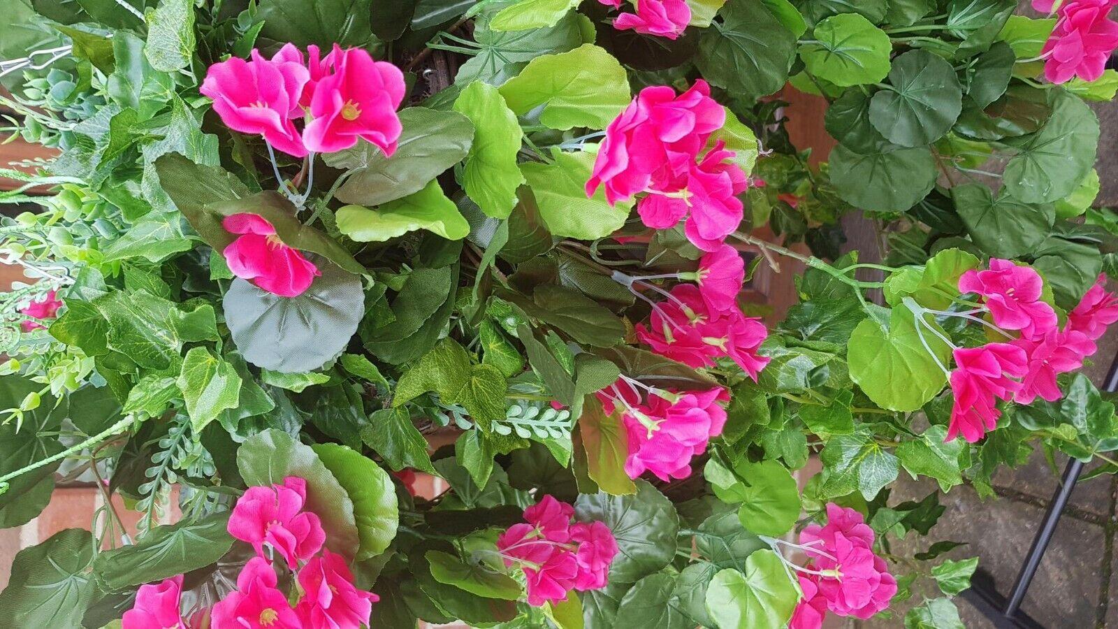 1 Metre Artificial Bespoke Hanging Basket Basket Basket Flowers Ivy Leaf Fern Foliage Plant c4b288