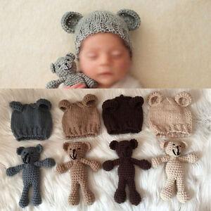 Newborn-Baby-Bear-Hat-Set-Girl-Boy-Photography-Prop-Photo-Crochet-Knit-Costume