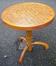 Handmade Vintage Half Penny Ha'Penny Round Wooden Side Table-PUB / BAR/ MAN CAVE