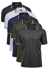 BLUE-GREEN-GREY-WHITE-BLACK-Luxury-Stretch-Cotton-Stripe-Mini-Pique-Polo-Shirt