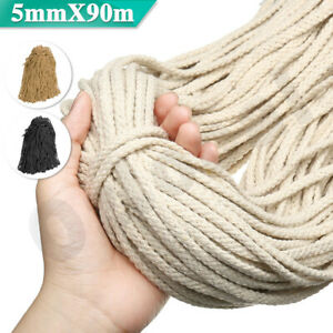 5mm-Macrame-Rope-Natural-beige-Cotton-Twisted-Cord-Artisans-Hand-Craft-90M-NEW