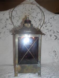 Collectibles Sensible Antique~vtg Amber Glass & Copper/brass Hanging Carriage Lantern Musical Decanter