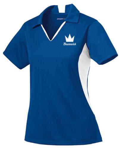 Brunswick Women/'s Blast Performance Polo Bowling Shirt Dri-Fit Royal Blue White