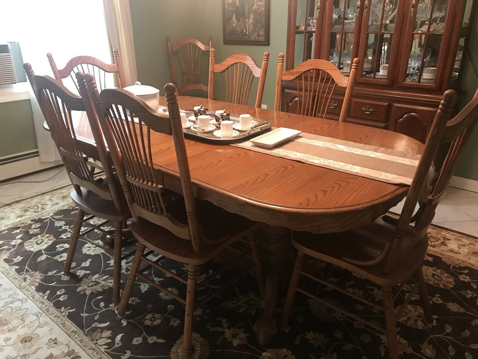 10 Piece Dining Room Set W Buffet China Hutch And 8 Chairs For Sale Online Ebay