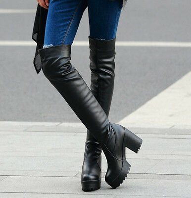 Chic Fashion Womens Cut Out Platform Over The Knee Chunky High Heels Thigh Boots