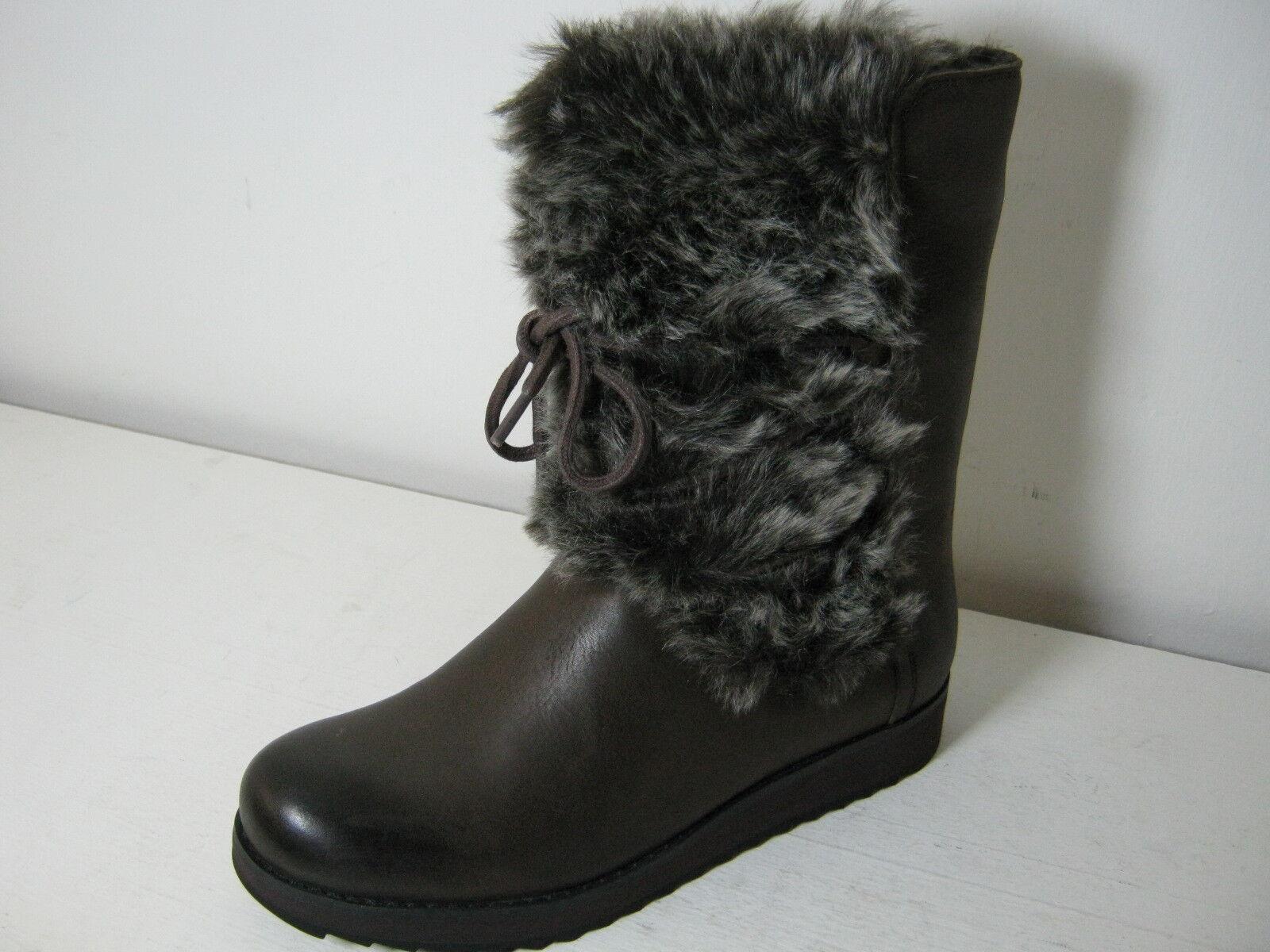 Ladies Clarks Minx Jeanie Dark Brown Leather & Faux Fur Cuff Mid Calf Boots