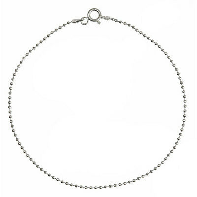 Fine Jewelry Jewelry & Watches Adroit Solid 925 Sterling Silver 1.5mm Thin Polished Ball Bead Chain Anklet Vivid And Great In Style