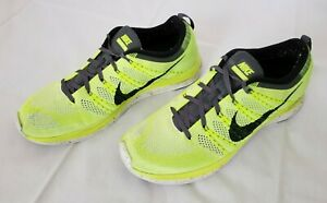72c5d7f737c9a Mens Size 12 Volt Black White Nike Flyknit Lunar One Running Shoes ...