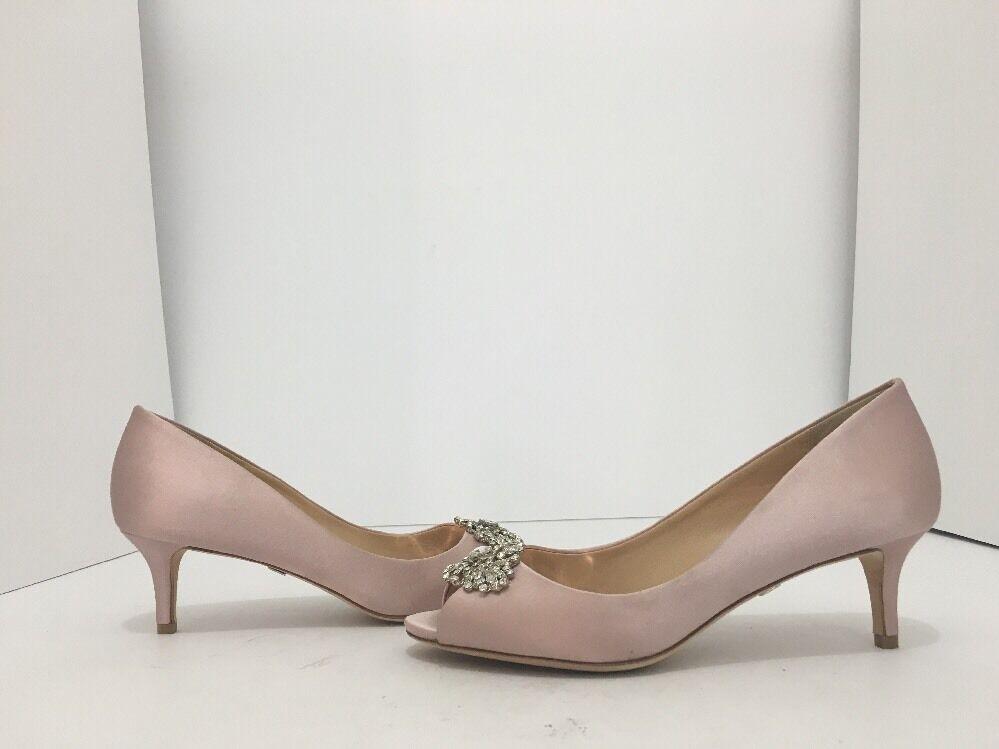 Badgley Mischka Layla Blush Satin Women's Evening Peep Toe Heels Pumps Size 6 M
