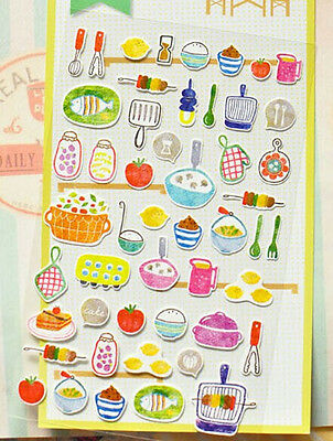 CUTE BBQ Food STICKERS Kitchen Food Raised Sticker Sheet Craft Scrapbook #251