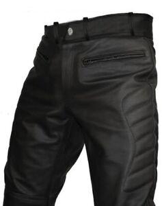 Para Hombres Cuero Negro Real Sexy Pantalones Jeans Pantalones Ciclistas De Moto J3 Ebay