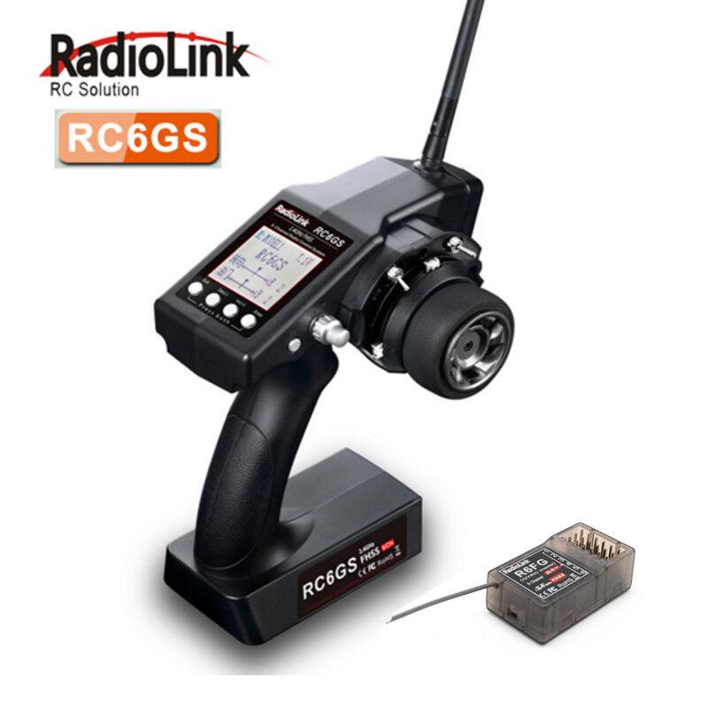 RadioLink RC6GS 2.4G 6CH coche Controlador Transmisor receptor de radio control & R6FG para barco