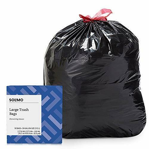 Amazon Brand Solimo Multipurpose Drawstring Trash Bags 50 Count... 30 Gallon