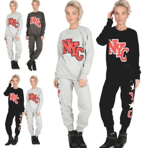 Womens NYC Tracksuit Ladies Essentials Jog Suit Bottoms Jogging Sweatshirt Set