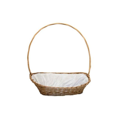 "Large Oval Manhattan Lined Wicker Display Basket x 21/"" Christmas Display"