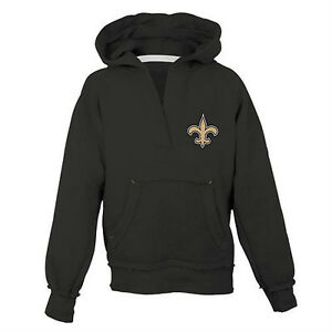 25d22504 Details about New Orleans Saints Hoodie Girls Size Small (7-8) Black Reebok  NWT