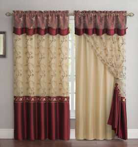 All-in-One Burgundy Window Curtain Drapery Panel: Double-Layer, Solid Color Back