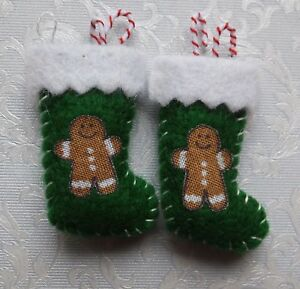Dolls-house-miniatures-pair-of-handmade-Xmas-stockings-green-w-gingerbread