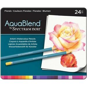 Artist Watercolor Pencils Spectrum Noir FLORALS 24 Colors Set SPECAB-FLO24 New