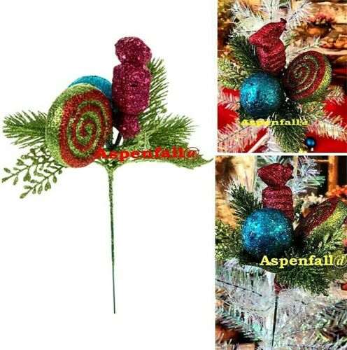 Sparkly Glitter Candy Christmas Pick Holiday Season Decor