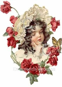 Vintage Image Shabby Victorian Girl With Roses Waterslide Decals KID570