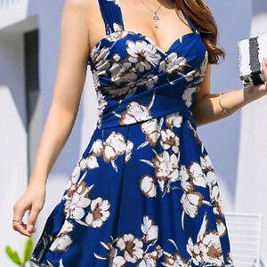 ec6a1c2f7e989 Lady Push-up One-piece Swim Dress Bikini Swimwear Plus Size Halter ...