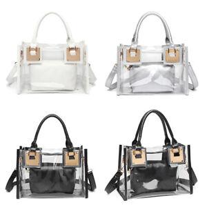 Women PU Transparent PVC Clear Bag Leather Tote Casual Handbag Messenger Bags