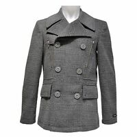 West End Men Wool Blend Checkered Double Breasted Center Vent Over Peacoat Grey