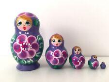 """Matryoshka Hand Painted Nesting Doll Russian Ballet Swan Lake 7/"""" 5 ps"""