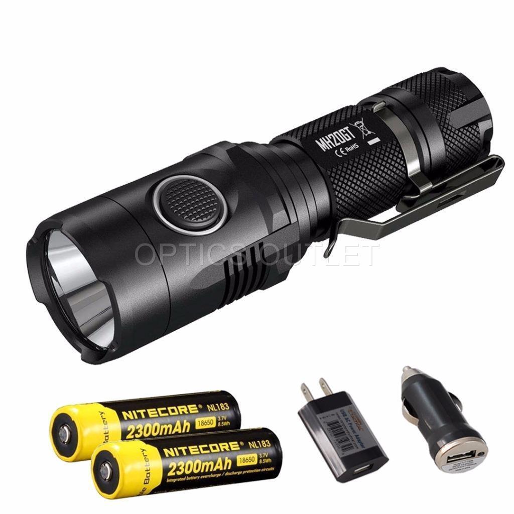 Nitecore MH20GT 1000 Lumens USB Rechargeable LED Flashlight w  2x18650 Batteries