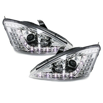 DAYLINE Headlights Ford Focus 01-04 DRL LED Chrome Lamps Head Lamp Free PP