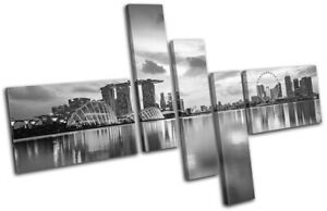 Singapore-Reflection-Night-Skyline-City-MULTI-CANVAS-WALL-ART-Picture-Print