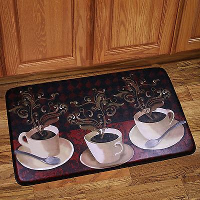 "Memory Foam Anti Fatigue Chef Design Kitchen Floor Mat Rug 30"" x 18"" Lotus Café"