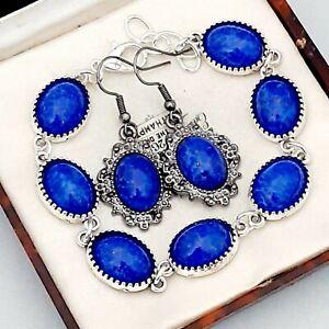 Vintage-Vibrant-Lapis-Lazuli-Blue-Oval-Glass-Cabochon-Bracelet-amp-Earring-Set