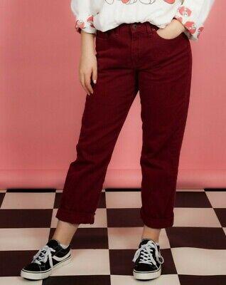 90s Vintage Borgogna Bordeaux Color Jeans Denim Vita Alta-mostra Il Titolo Originale Ottima Qualità