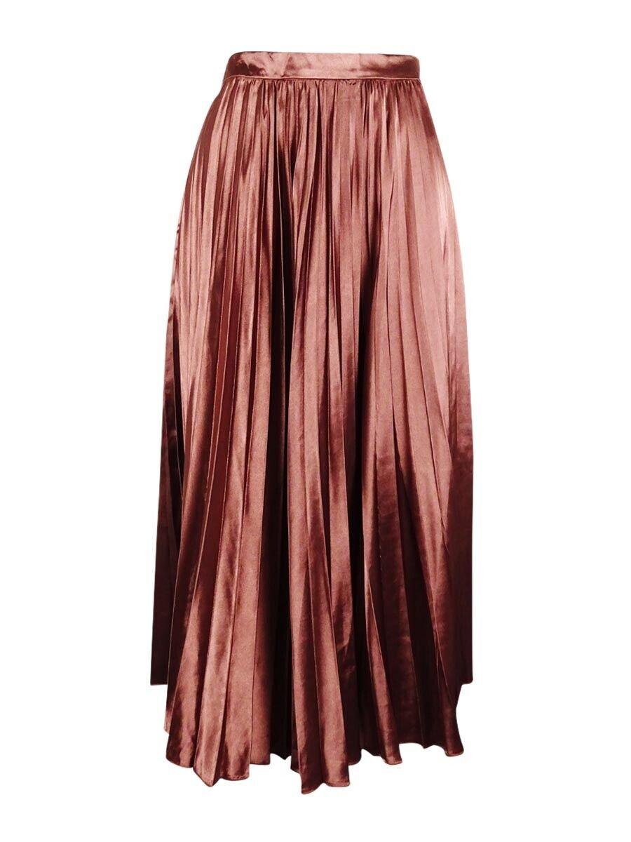 Allegra K Women's Pleated Skirt (S, Brown)