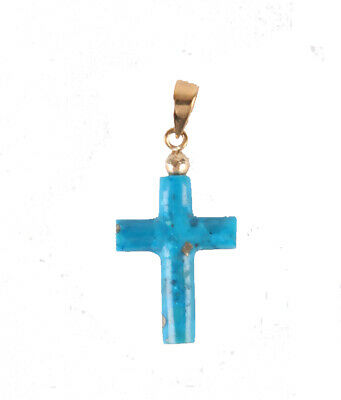 100% Wahr Stunning Turkoise Cross Real Türkise Golden Holding Wunderschöner Anhänger Für K GroßE Sorten
