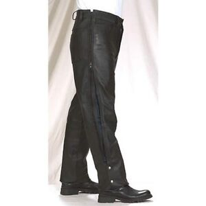 Black Plain Naked Cowhide Leather Chaps