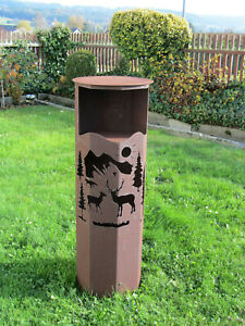 Feuer-Saeule-Saeule-034-Wald-034-Edelrost-Rost-Metall-Gartendeko-Stele-Fackel-Windlicht