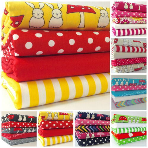 Bunny & toadstool Easter fat quarter bundles 100 % cotton 7 colours