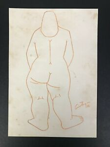 Drawing by Francisco Antigua. No title. Year 1976. Original signed by the artist