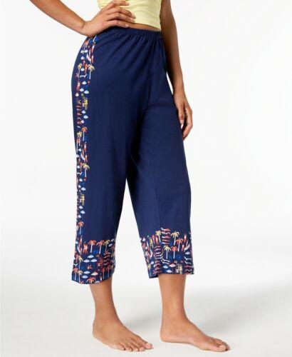 HUE Women/'s Capri Lounge Pajama Pants Navy Blue Beach Scene