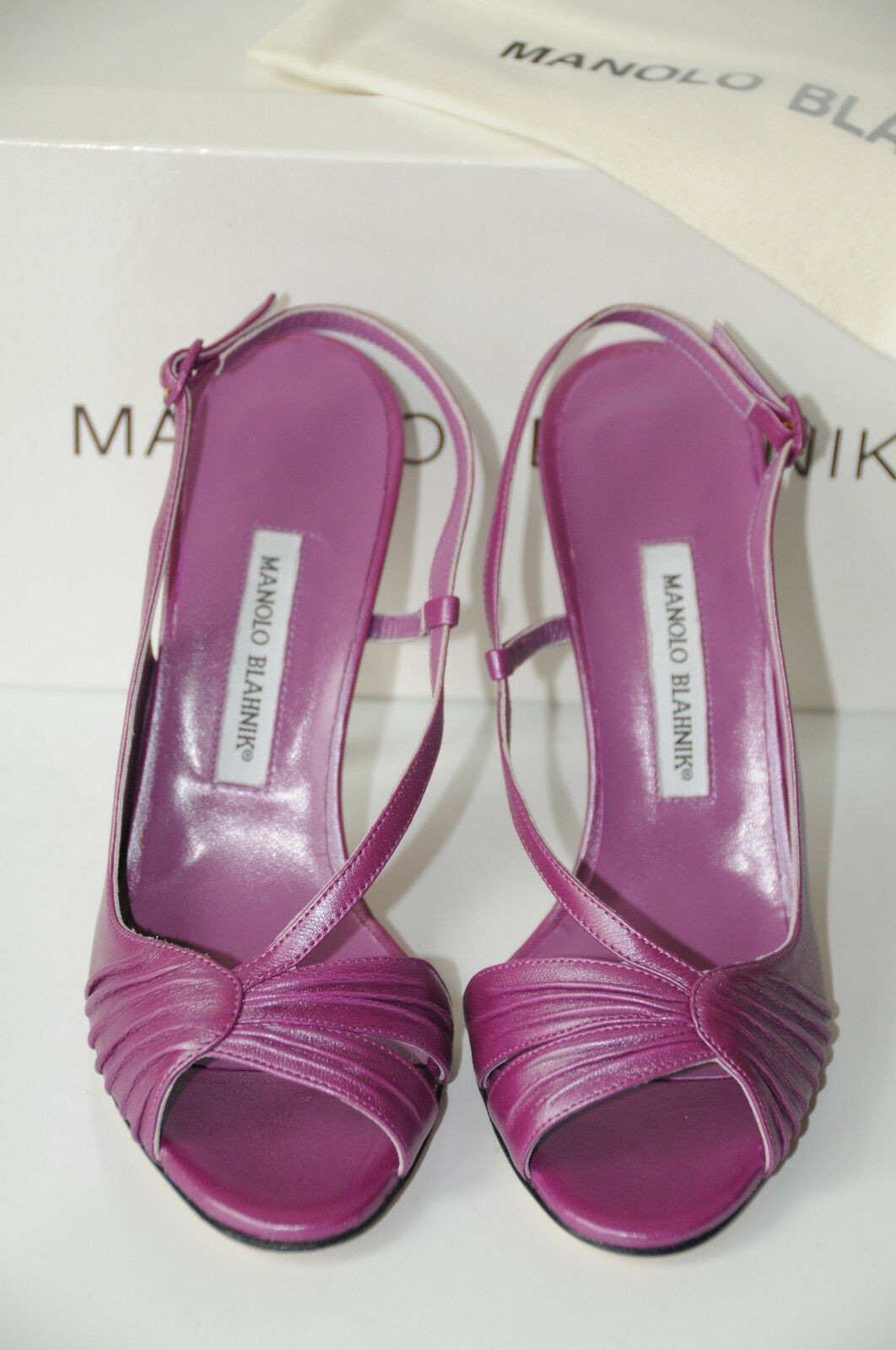 $925 New Manolo Blahnik Riccia Riccia Riccia 105 Purple Sheen  Leder schuhes Sandals 40.5 e1b88e