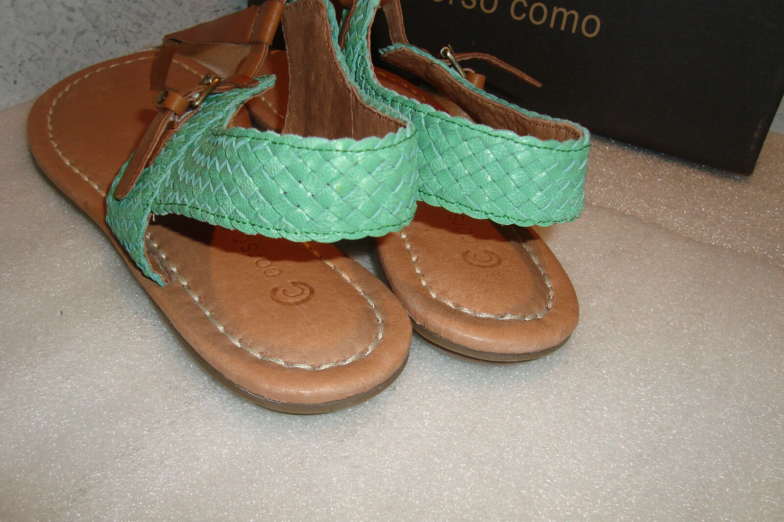 Corso Como Womens NWB NWB NWB Behave Caramel Aqua Burnish Calf Sandals shoes 9 MED NEW 4a70e4