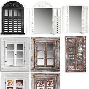 Deko spiegel fensterladen shabby holz spiegel rundbogen landhaus wandspiegel ebay - Landhaus wandspiegel ...