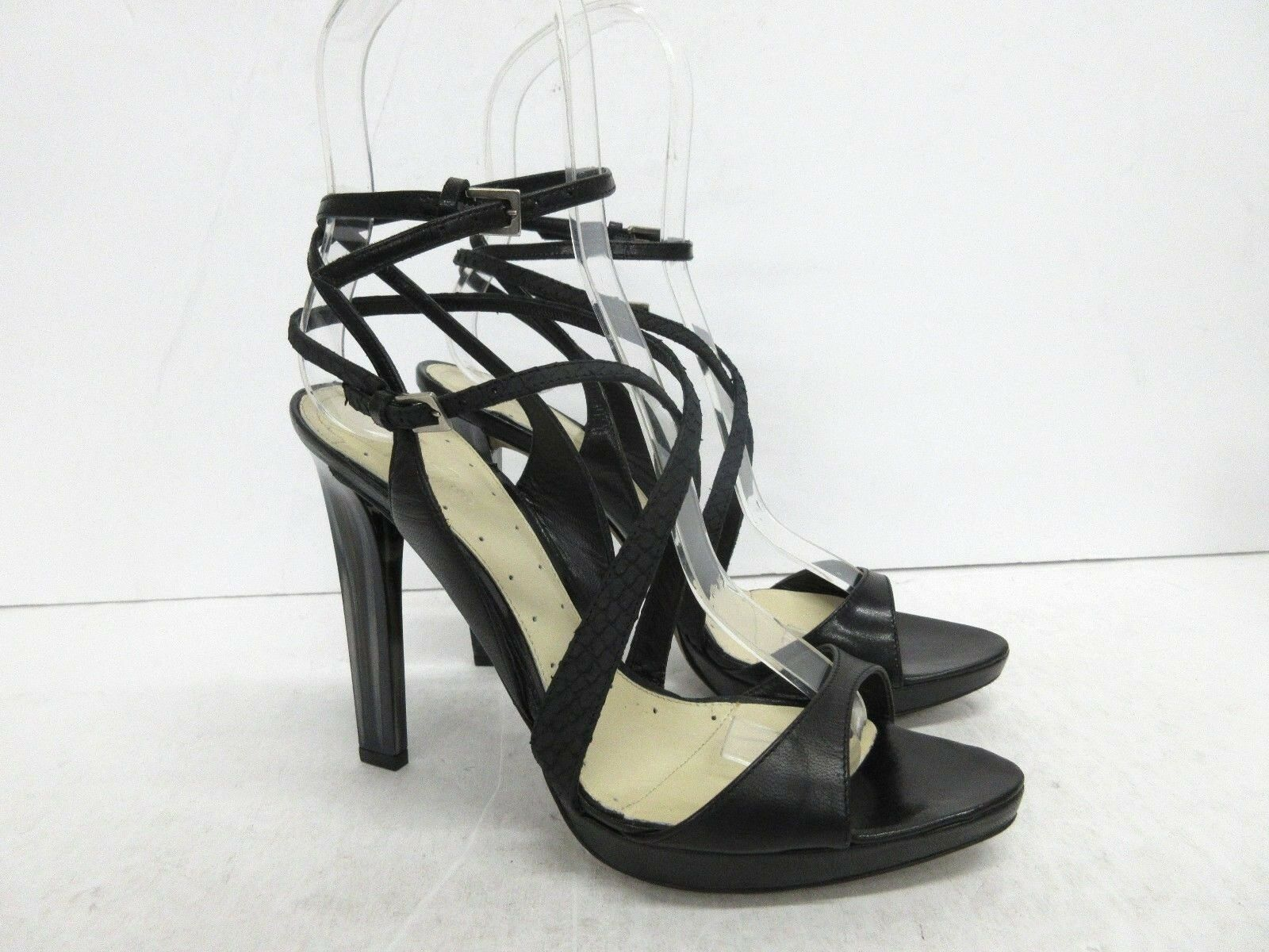 New  MAX AZRIA Strappy Marble Heel Leather Sandal in Black Size  39 EUR