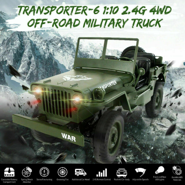 Military Jeeps For Sale >> Jjrc Q65 1 10 2 4ghz Open Car Rc Off Road Military Jeep 4wd Rock Crawler Toy Rtr